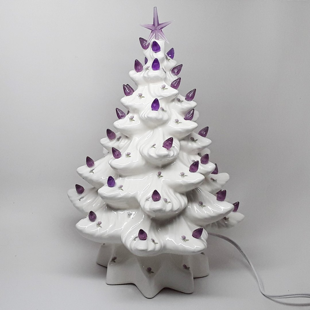 Light Up Ceramic Christmas Tree with Scottish Thistle