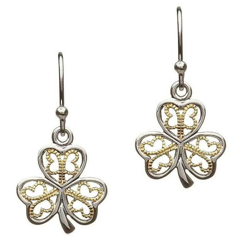 Silver Filigree Shamrock Earrings