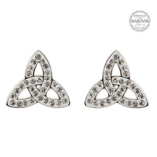 Trinity Knot Stud Earrings With Swarovski Crystals