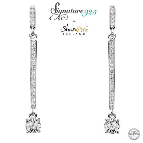 Shanore Two Part Silver Swarovski Crystal Drop Earrings