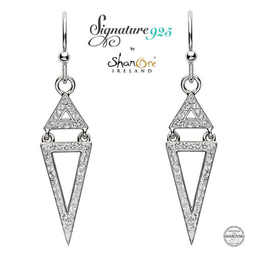 Two Part Triangle Silver Drop White Swarovski Crystal Earrings