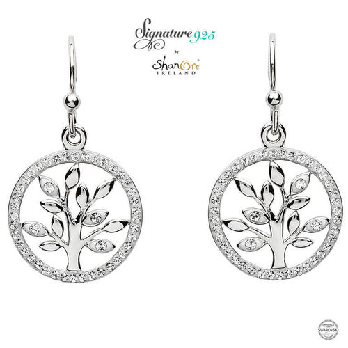 Tree Of Life Silver Earrings Swarovski Crystal