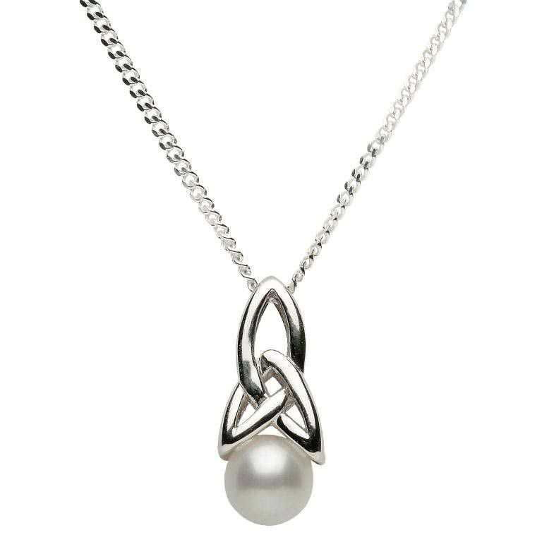 Celtic Trinity & Pearl Silver Necklace