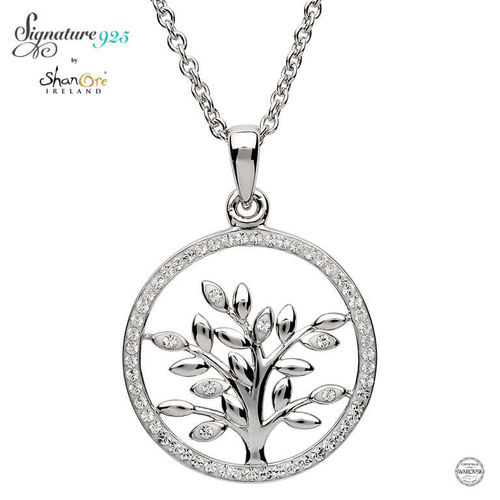 Tree Of Life Silver Pendant With Swarovski Crystal