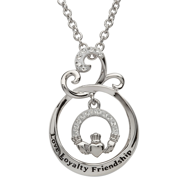 Love Loyalty Friendship Claddagh Pendant With Swarovski Crystal