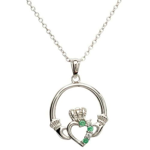 Claddagh Silver Necklace With Green Stones