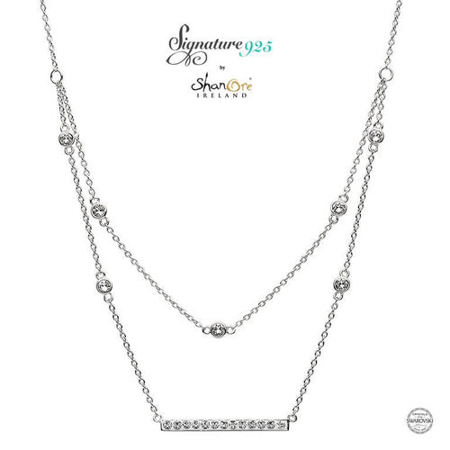 Double Chain Necklace With White Swarovski Crystal