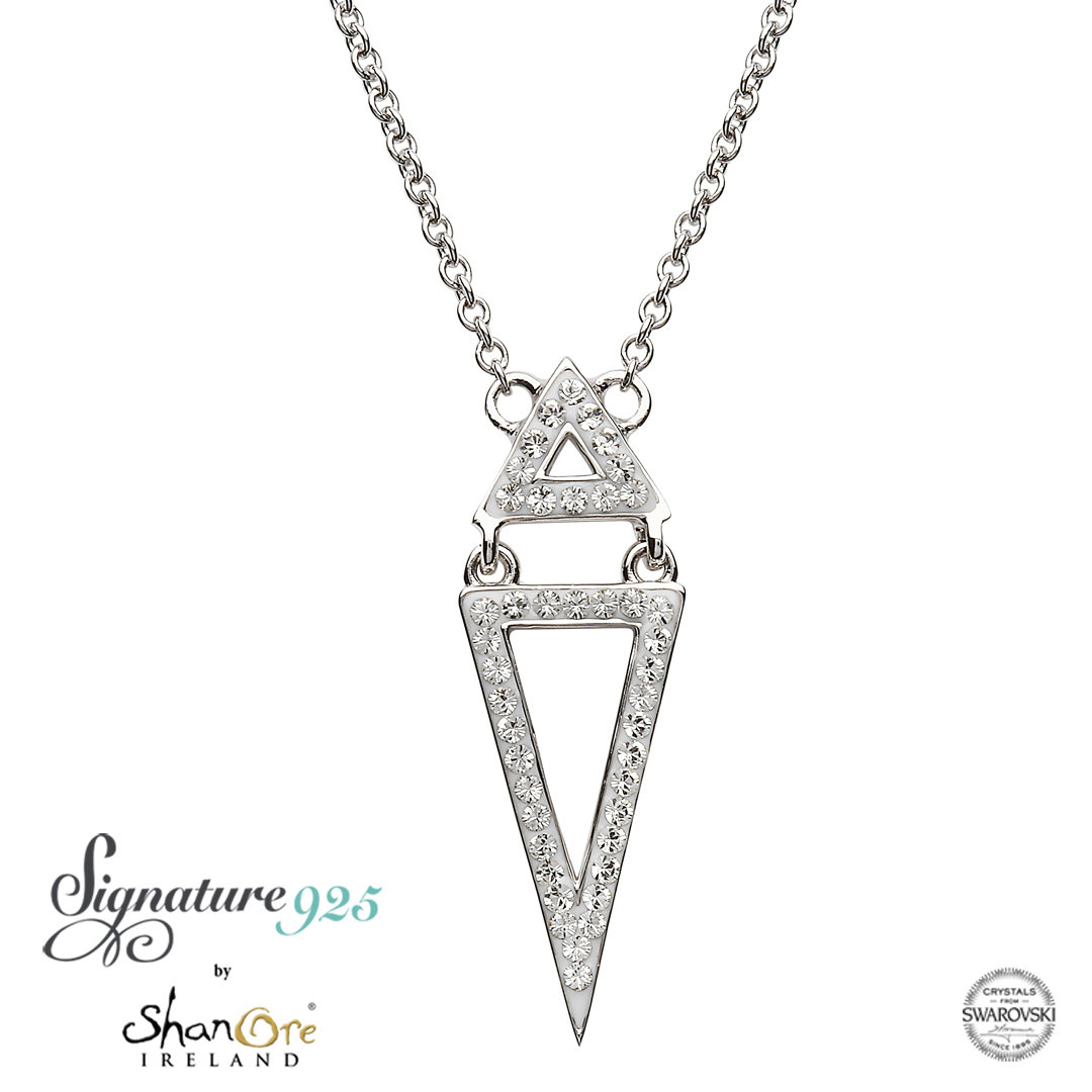 Swarovski Crystal Two Part Silver Triangle Pendant