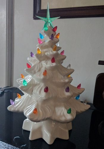 Light Up Ceramic Christmas Tree With Multi-Color Lights