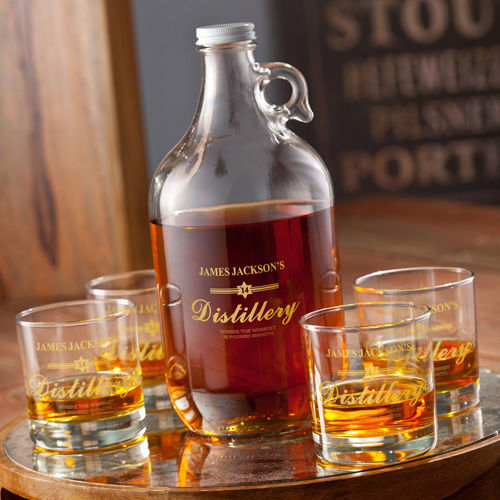 Personalized Distillery Whiskey Growler  & Glasses – Personalized Gift