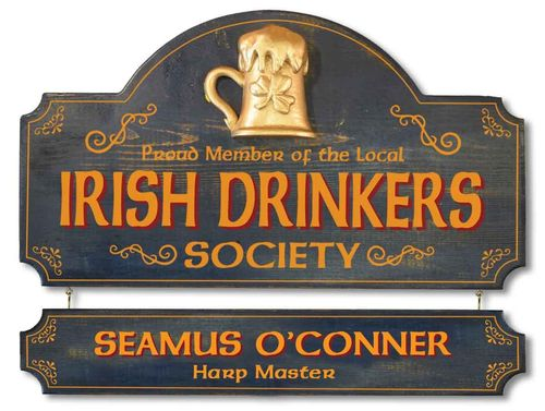 Personalized Irish Drinkers Society Plaque - Wall Sign
