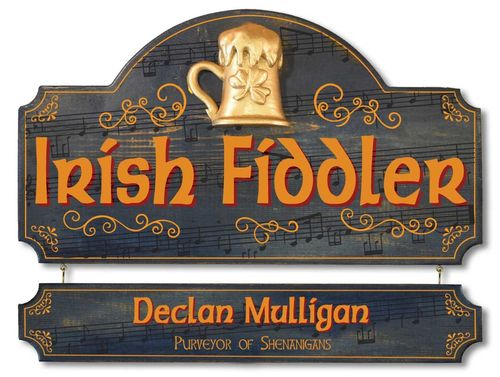 Personalized Irish Fiddler Plaque - Wall Sign