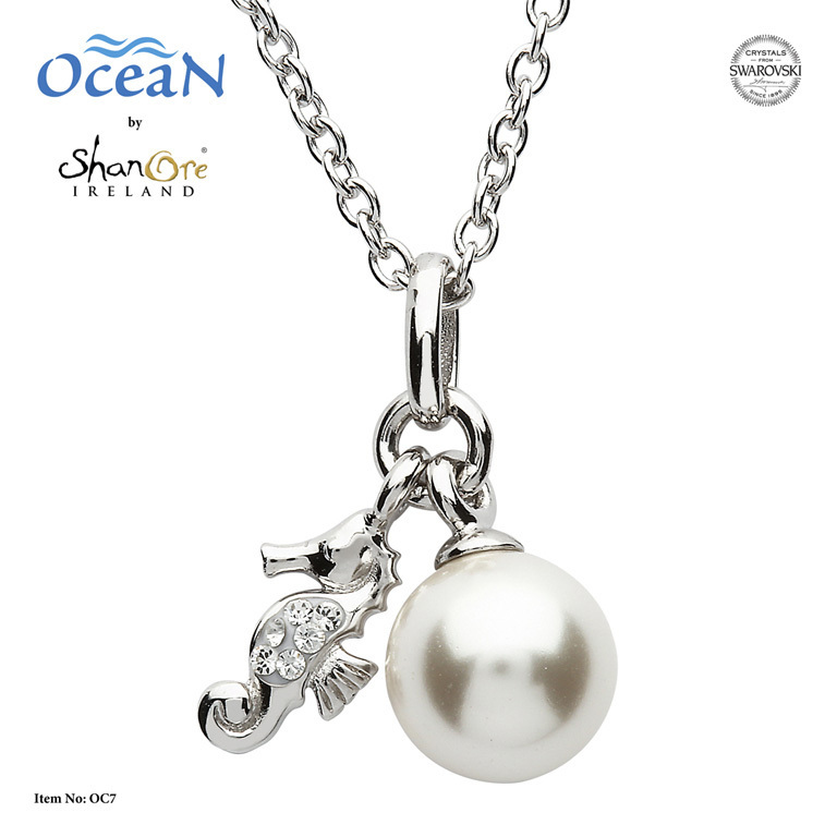 Seahorse Pearl Necklace With Crystals - Sterling Silver