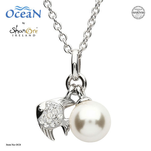 Fish & Pearl Pendant With Swarovski Crystal – Sterling Silver