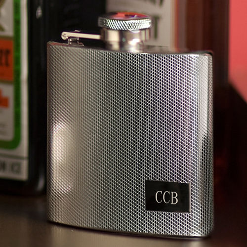 Personalized Textured Stainless Steel Flask - 4 Ounce