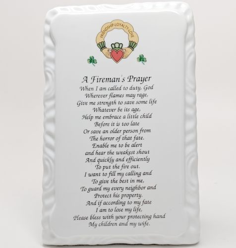 Irish Fireman Blessing Ceramic Plaque