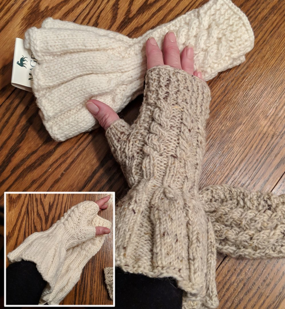 Hand Knit Fingerless Irish Wool Gloves ~ Frilled