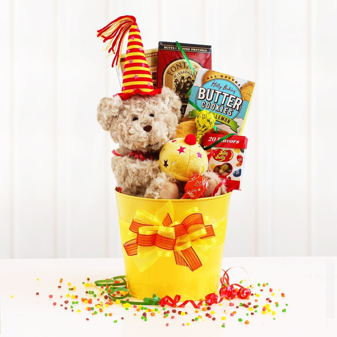Birthday Bear Snacks Basket