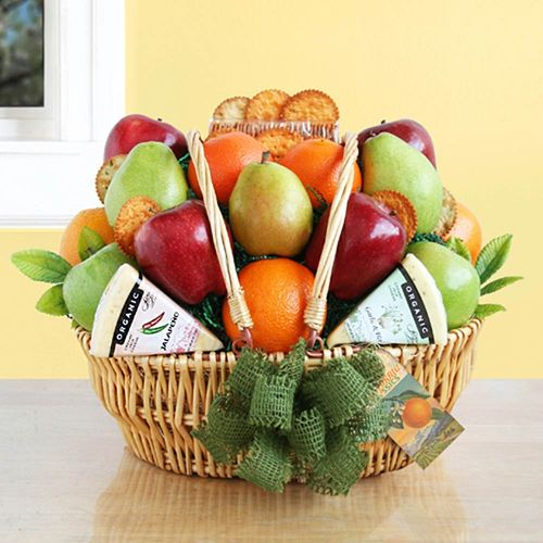 Organic Fruit & Cheese Gift Basket