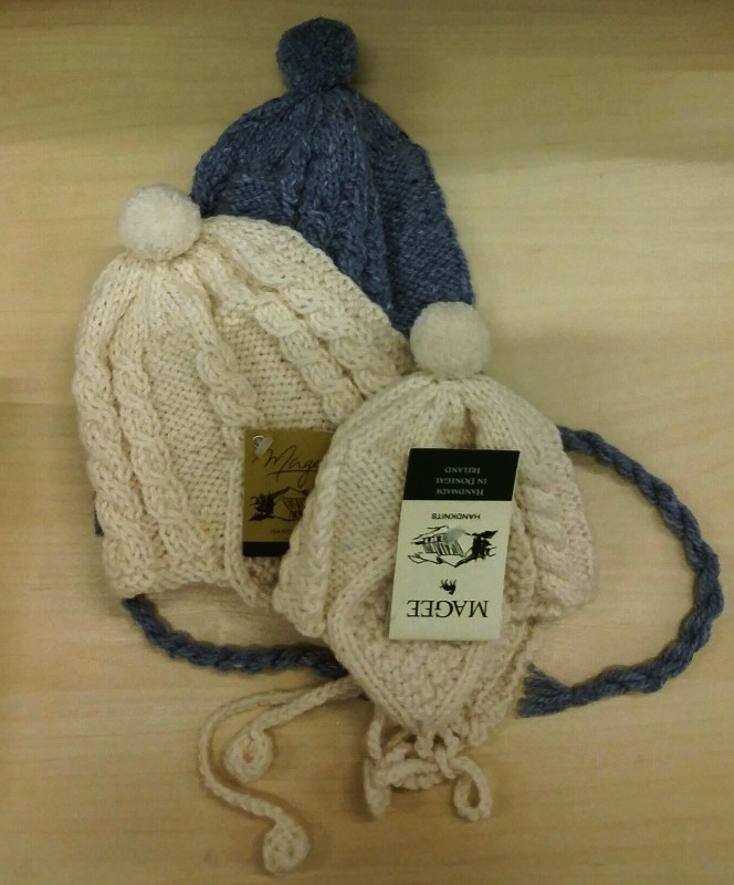 Hand Knit Child & Baby Hat With Ties ~ Made in Ireland