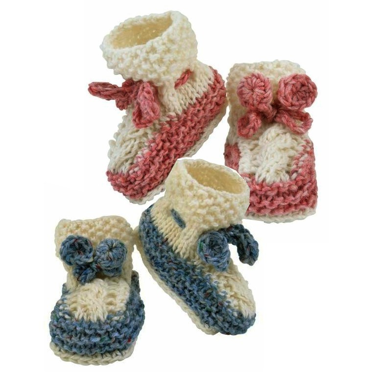 Hand Knit Baby Booties With Pink or Blue ~ Made in Ireland