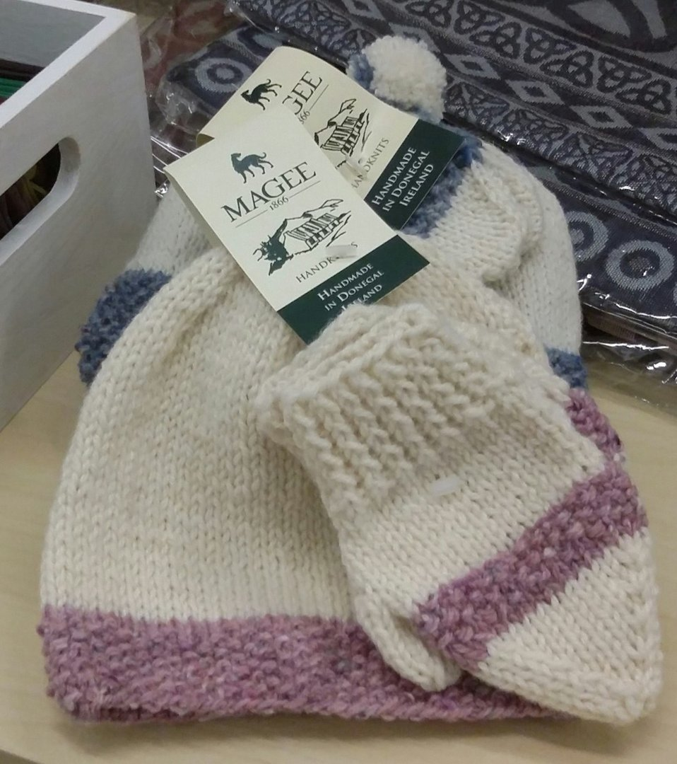 Baby Hat & Mittens With Pink or Blue ~ Made in Ireland