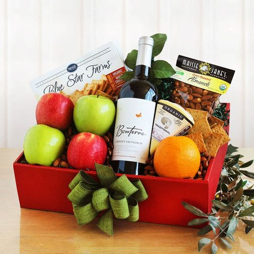 Organic Fruit & Wine Gift Basket