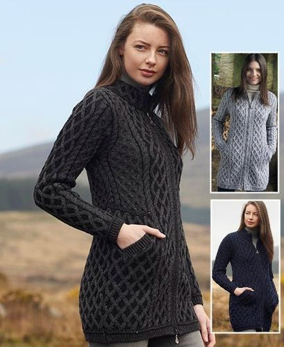 Irish Wool Plated Zipper Coat