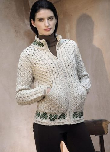 Shamrock Zipper Sweater ~ Made in Ireland