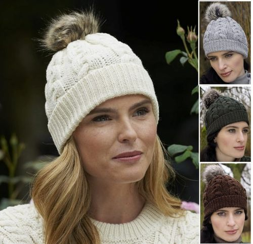 Irish Wool Cable Knit Hat With Faux Fur Pom