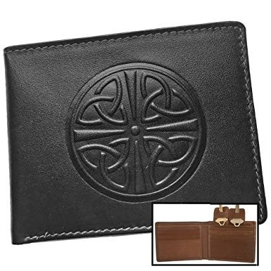 Men's Celtic Wallet ~ Black With Brown Inside