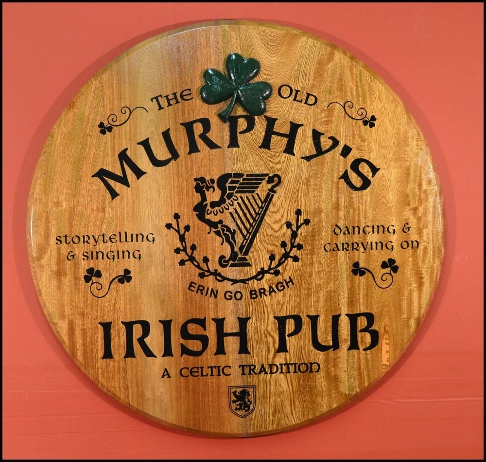 'Irish Pub' Personalized Barrel Head Sign