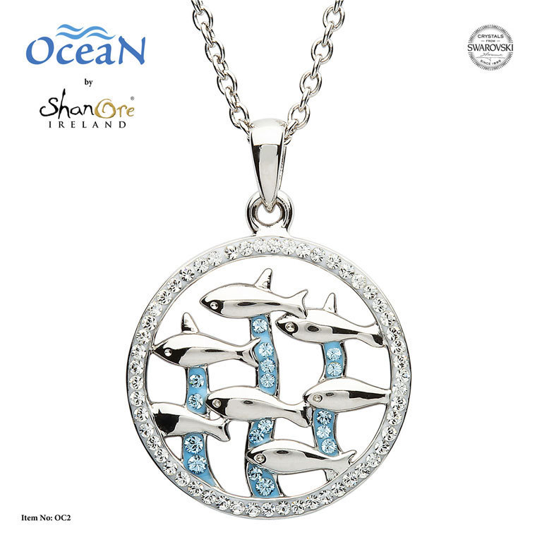 Dolphin Necklace With Swarovski Crystal ~ Made in Ireland