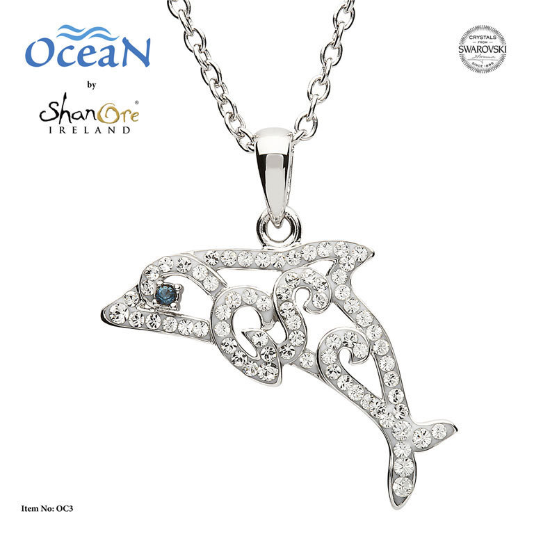 Silver Dolphin Necklace With Swarovski Crystal ~ Shanore Ireland