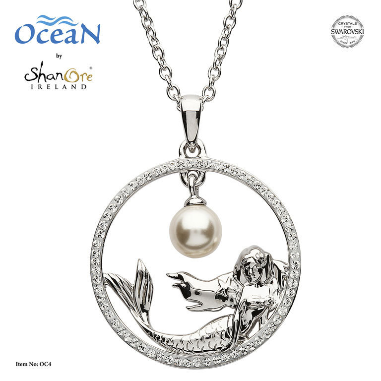 Mermaid Necklace with Swarovski Crystals and Pearl ~ Shanore Ireland
