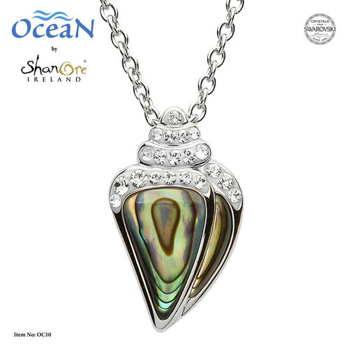 Shell Necklace with Abalone and Swarovski Crystals~ Shanore Ireland