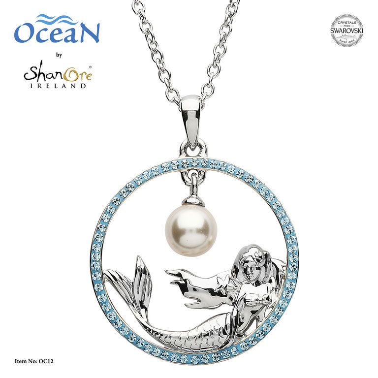 Mermaid Necklace with Aqua Swarovski and Pearl ~ Shanore Ireland
