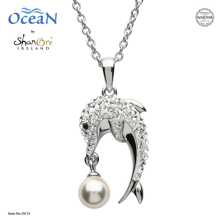 Dolphin Necklace with  Crystals and Pearl ~ Shanore Ireland