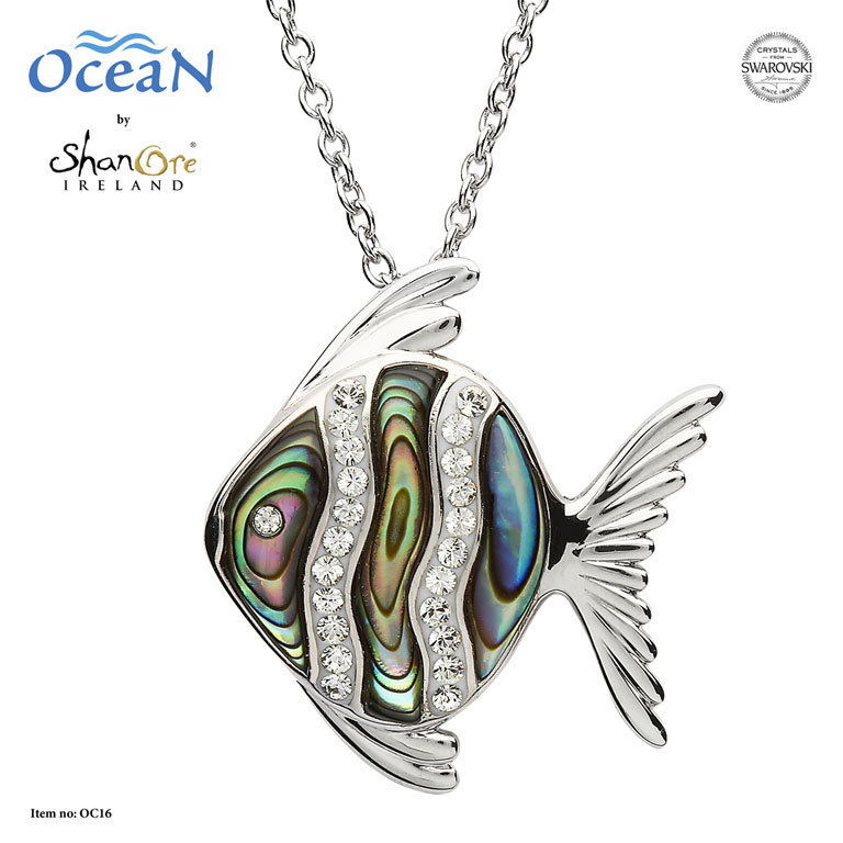 Angel Fish Necklace with Crystals and Abalone ~ Shanore Ireland