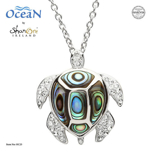 Turtle Necklace with Crystals and Abalone ~ Shanore Ireland