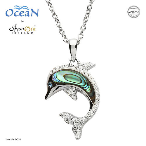 Dolphin Necklace with Crystals and Abalone ~ Shanore Ireland