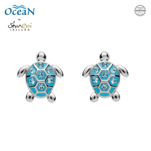 Sterling Silver Stud Turtle Aqua Crystal Earrings ~ Shanore Ireland