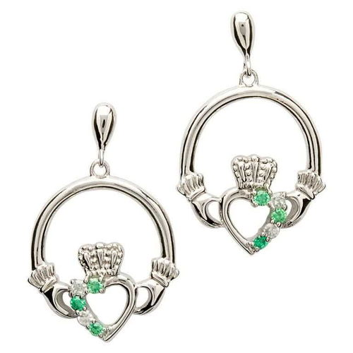 Sterling Silver Claddagh Earrings Green Stones ~ Shanore Ireland