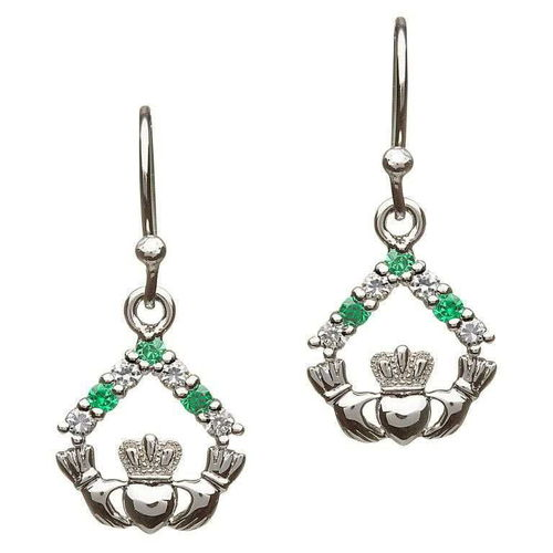 Sterling Silver Green White Stone Claddagh Earrings ~ Shanore Ireland