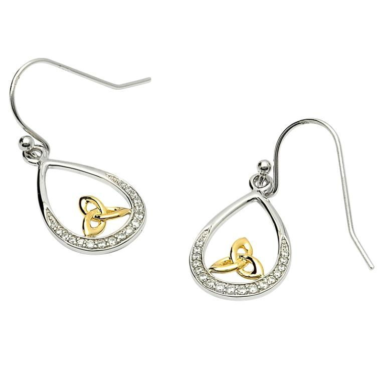 Trinity Loop Earrings Silver Stone & Gold