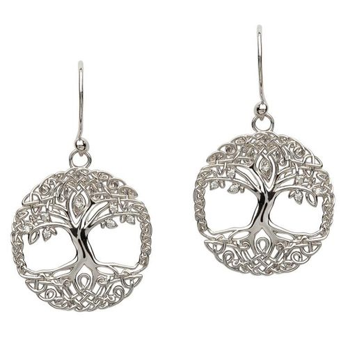 Sterling Silver Tree of Life Cubic Zirconia Earrings ~ Shanore Ireland