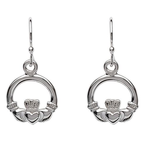Sterling Silver Claddagh Drop Earrings ~ Shanore Ireland