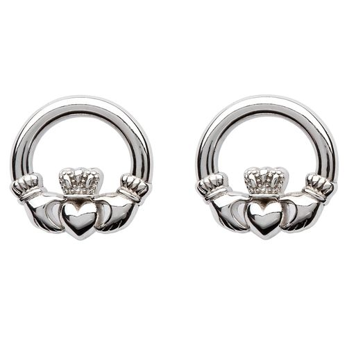 Sterling Silver Claddagh Stud Earrings ~ Shanore Ireland