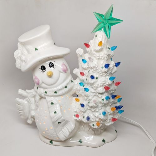 Light Up Snowman Holding Christmas Tree