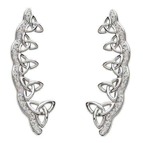 Trinity Knot Earrings With Swarovski Crystals ~ Shanore